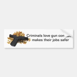Criminals love gun control car bumper sticker