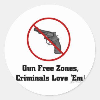 Criminals Love Gun Free Zones Classic Round Sticker