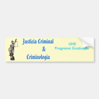 criminologia criminal de $ del justicia pegatina de parachoque