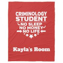 Criminology College Major No Sleep No Money Fleece Blanket