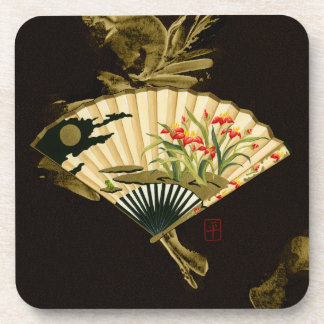 Crimped Oriental Fan with Floral Design Beverage Coaster
