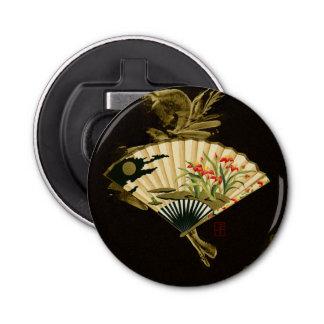Crimped Oriental Fan with Floral Design Bottle Opener