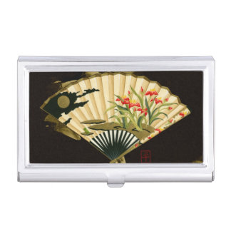 Crimped Oriental Fan with Floral Design Business Card Holder