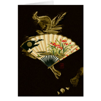 Crimped Oriental Fan with Floral Design Card