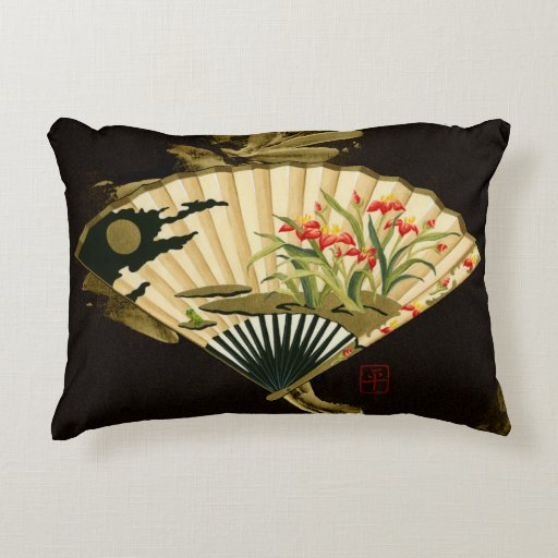 Crimped Oriental Fan with Floral Design Decorative Pillow Zazzle