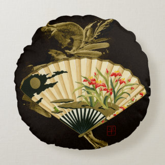 Crimped Oriental Fan with Floral Design Round Pillow