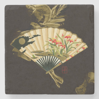 Crimped Oriental Fan with Floral Design Stone Coaster