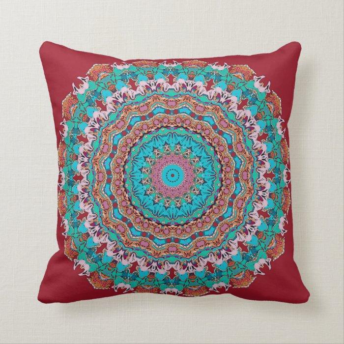 Crimson and Aqua Kaleidoscope Pillow in 2 Sizes