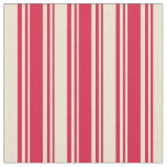 [ Thumbnail: Crimson and Beige Colored Pattern of Stripes Fabric ]