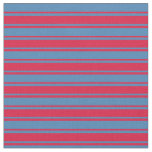 [ Thumbnail: Crimson and Blue Lines Pattern Fabric ]