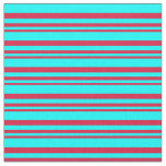 [ Thumbnail: Crimson and Cyan Colored Lines/Stripes Pattern Fabric ]