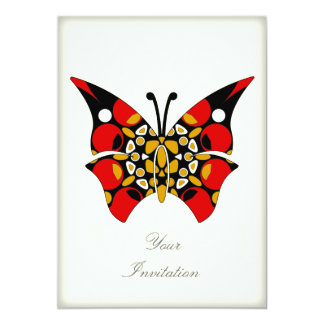 Crimson and Gold Butterflies 5x7 Paper Invitation Card