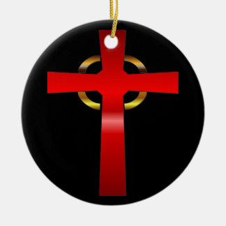 Crimson and Gold Celtic Cross Ceramic Ornament