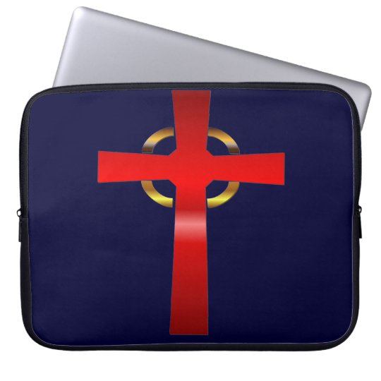 Crimson and Gold Celtic Cross Laptop Sleeve