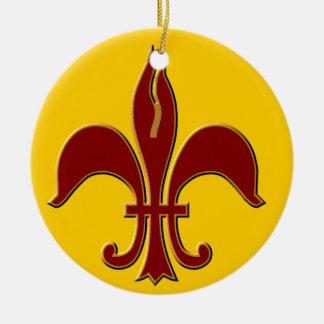 Crimson and Gold Fleur de lis - Ornament