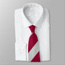 Crimson and Gray Diagonally-Striped Tie
