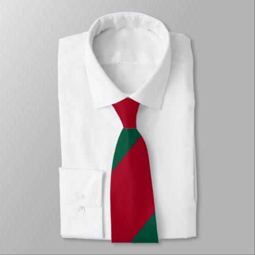 Crimson and Green Broad Regimental Stripe Neck Tie