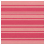 [ Thumbnail: Crimson and Light Coral Colored Lines Fabric ]