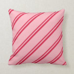 [ Thumbnail: Crimson and Light Pink Pattern of Stripes Pillow ]