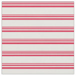 [ Thumbnail: Crimson and Mint Cream Lined/Striped Pattern Fabric ]