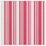 [ Thumbnail: Crimson and Mint Cream Lines Fabric ]