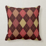 Crimson and Olive Argyle Two Pattern Reversible Throw Pillow