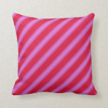 [ Thumbnail: Crimson and Orchid Lines Throw Pillow ]