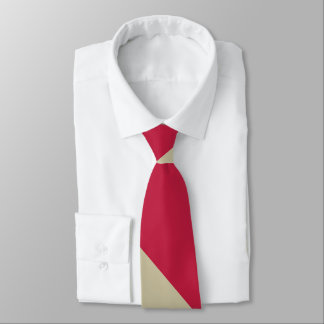 Crimson and Pale Gold Broad University Stripe Neck Tie