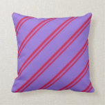 [ Thumbnail: Crimson and Purple Colored Stripes Throw Pillow ]