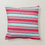 [ Thumbnail: Crimson and Turquoise Colored Pattern Throw Pillow ]