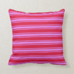 [ Thumbnail: Crimson and Violet Colored Lined Pattern Pillow ]