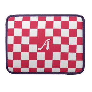 Crimson and White Checkered Monogram Sleeves For MacBook Pro