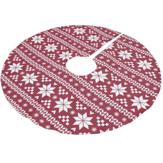Crimson and White Fair Isle Pattern Brushed Polyester Tree Skirt