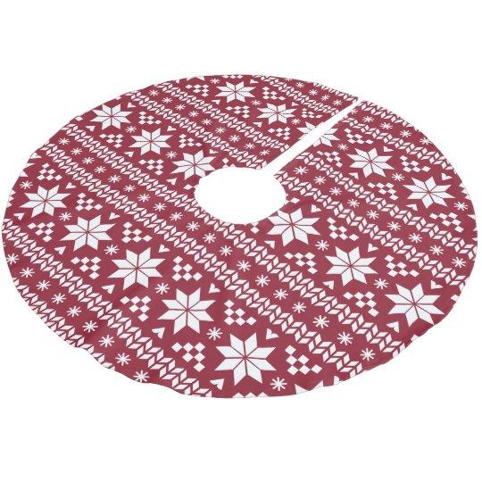 Crimson and White Fair Isle Pattern Brushed Polyester Tree Skirt ...