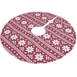 Crimson and White Fair Isle Pattern Brushed Polyester Tree Skirt