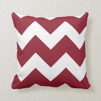 Crimson and White Large Chevron Print Pillow
