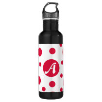 Crimson and White Polka Dots Monogram Stainless Steel Water Bottle
