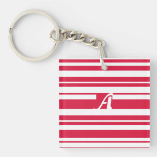 Crimson and White Random Stripes Monogram Keychain