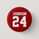 "Crimson and White School Spirit Personalized Team Button<br><div class=""desc"">Cheer on your favorite sports team, football player or just show off your school pride with a custom personalized spirit button! Add your school name or personalize with a player&#39;s name and jersey number. Perfect for football, basketball, baseball and soccer games! Create custom pins for the whole team, cheerleaders, parents...</div>"
