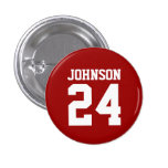 Crimson and White School Spirit Personalized Team 1 Inch Round Button