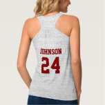 Crimson and White School Spirit Personalized Team Flowy Racerback Tank Top
