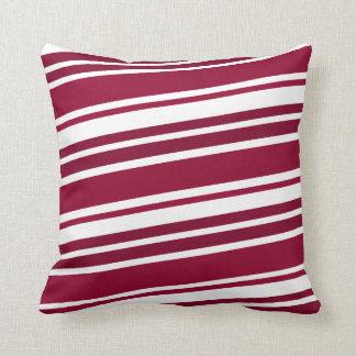 Crimson and White Side Stripes Throw Pillows