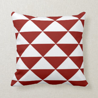 Crimson and White Triangles Throw Pillow