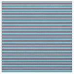 [ Thumbnail: Crimson & Aqua Colored Lines/Stripes Pattern Fabric ]