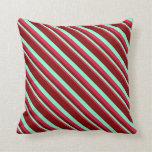 [ Thumbnail: Crimson, Aquamarine, and Maroon Pattern Pillow ]