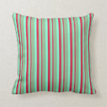 [ Thumbnail: Crimson, Aquamarine & Dark Sea Green Colored Throw Pillow ]
