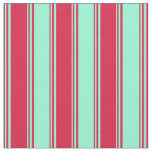 [ Thumbnail: Crimson & Aquamarine Striped Pattern Fabric ]