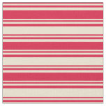 [ Thumbnail: Crimson & Beige Colored Stripes/Lines Pattern Fabric ]