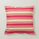 [ Thumbnail: Crimson & Beige Colored Stripes/Lines Pattern Throw Pillow ]