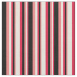 [ Thumbnail: Crimson, Beige, Light Coral & Black Colored Lines Fabric ]
